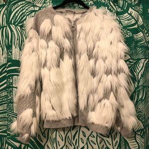 Zara faux fur zip-up jacket